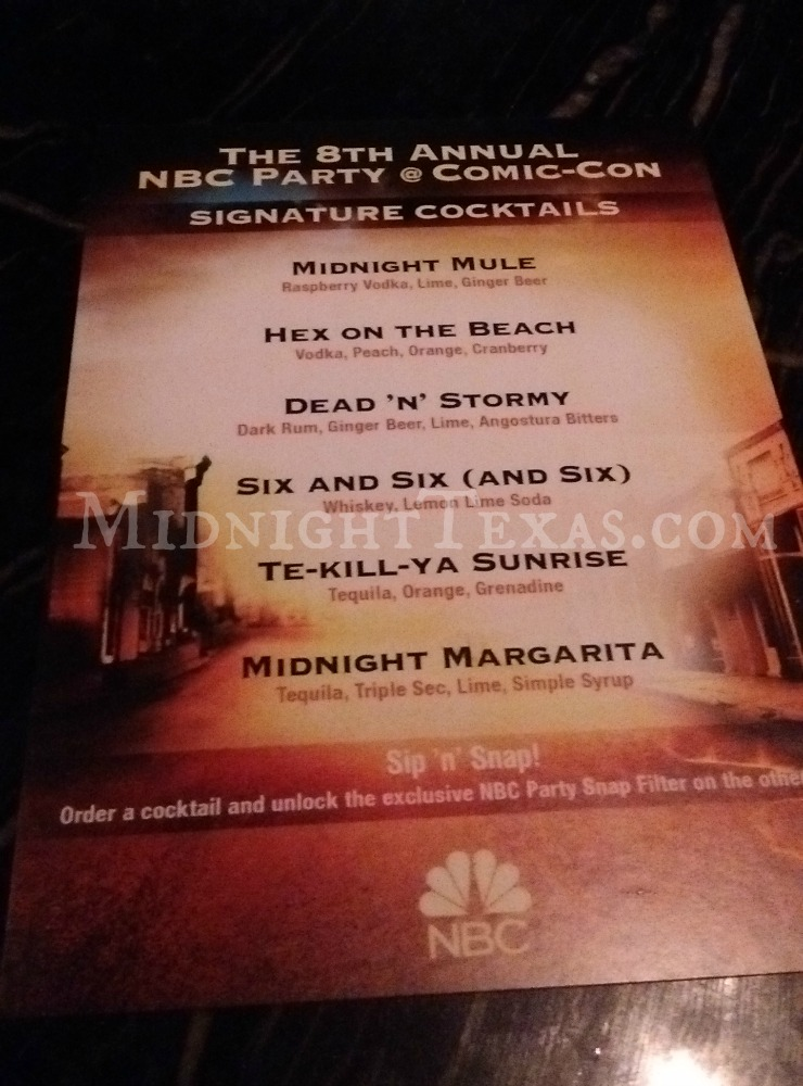 Midnight, Texas signature cocktails at NBC Party @ Comic Con 2017
